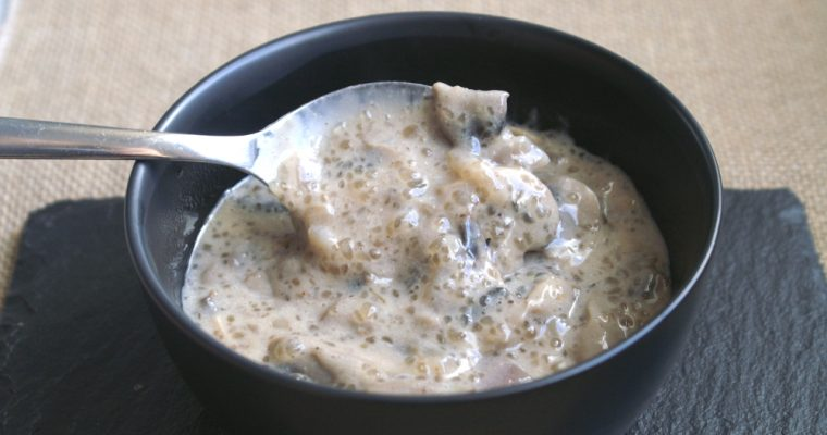Crema de champiñones con tapioca