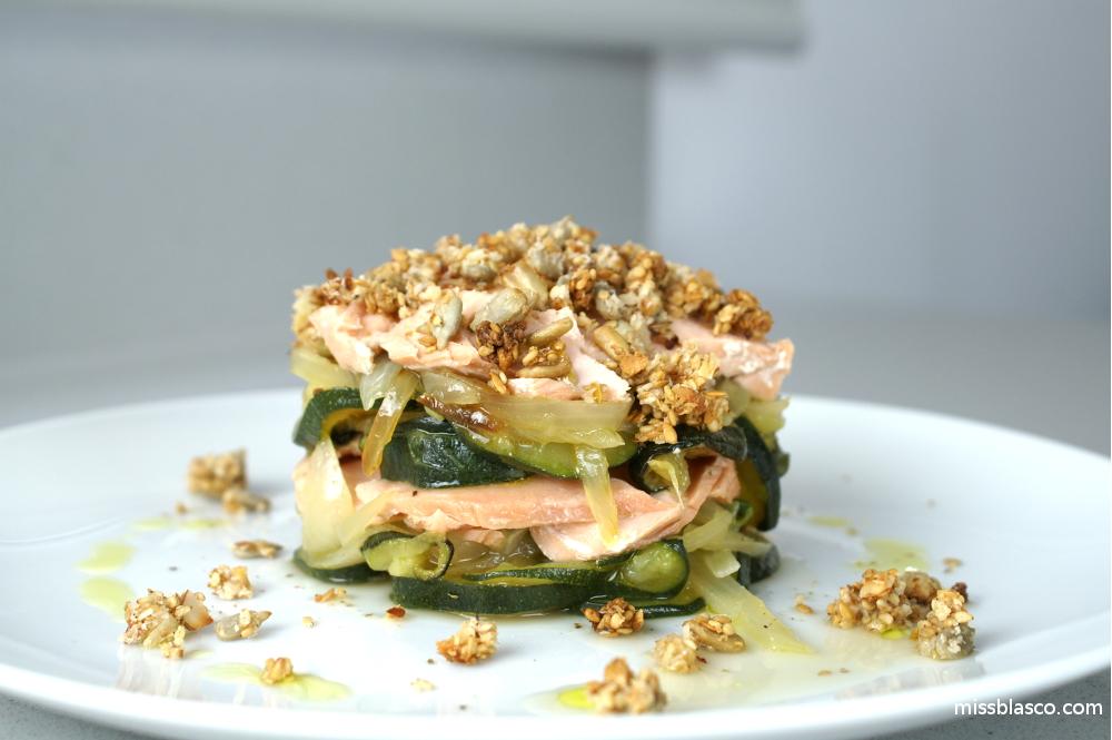 receta de crumble de salmón sin harina