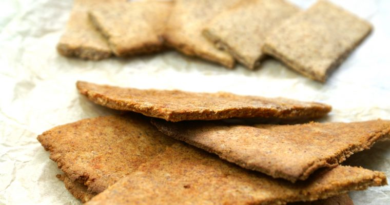Paleo crackers made with  almond okara (almond pulp)