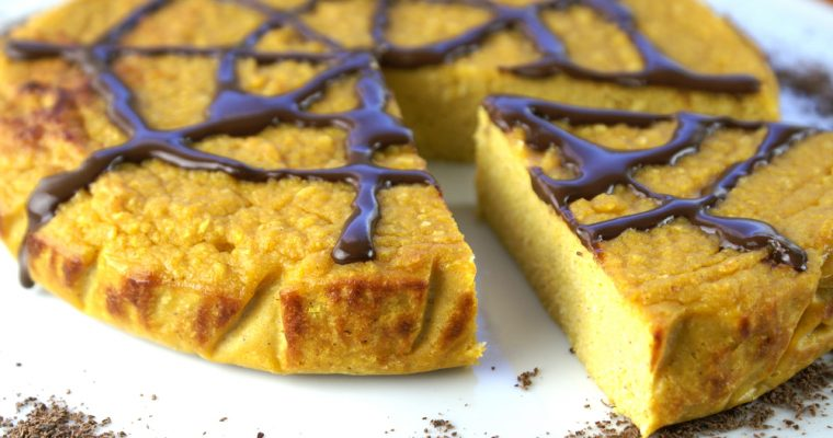Tarta de calabaza sin azúcar con chocolate negro
