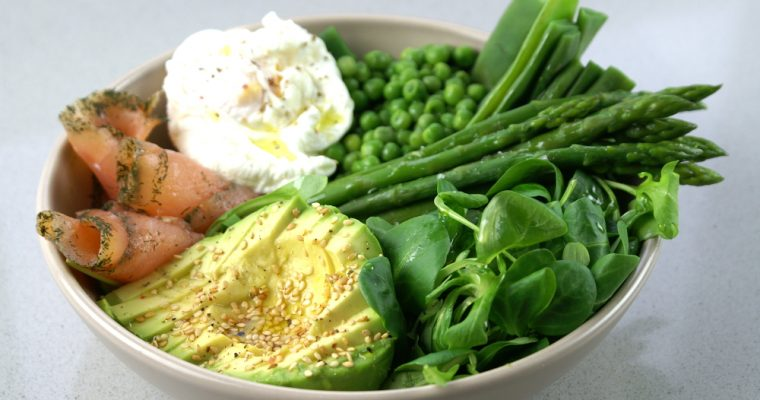 Healthy dish: Vegetables, salmon and poached egg bowl