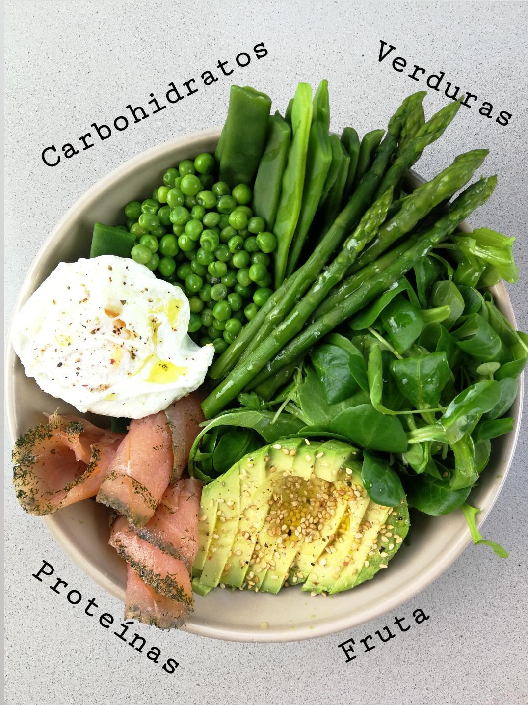 plato sano harvard de vegetales, salmón y huevo escalfado