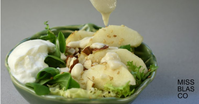 Burrata with pear and almond dressing
