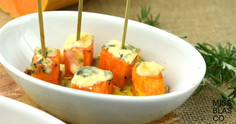 Pumpkin dice with blue cheese