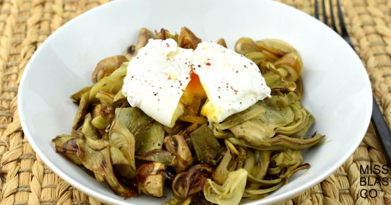SAUSAGE OF ARTICHOKES WITH SCALFED EGG