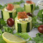 bocaditos sanos de pepino y salmón