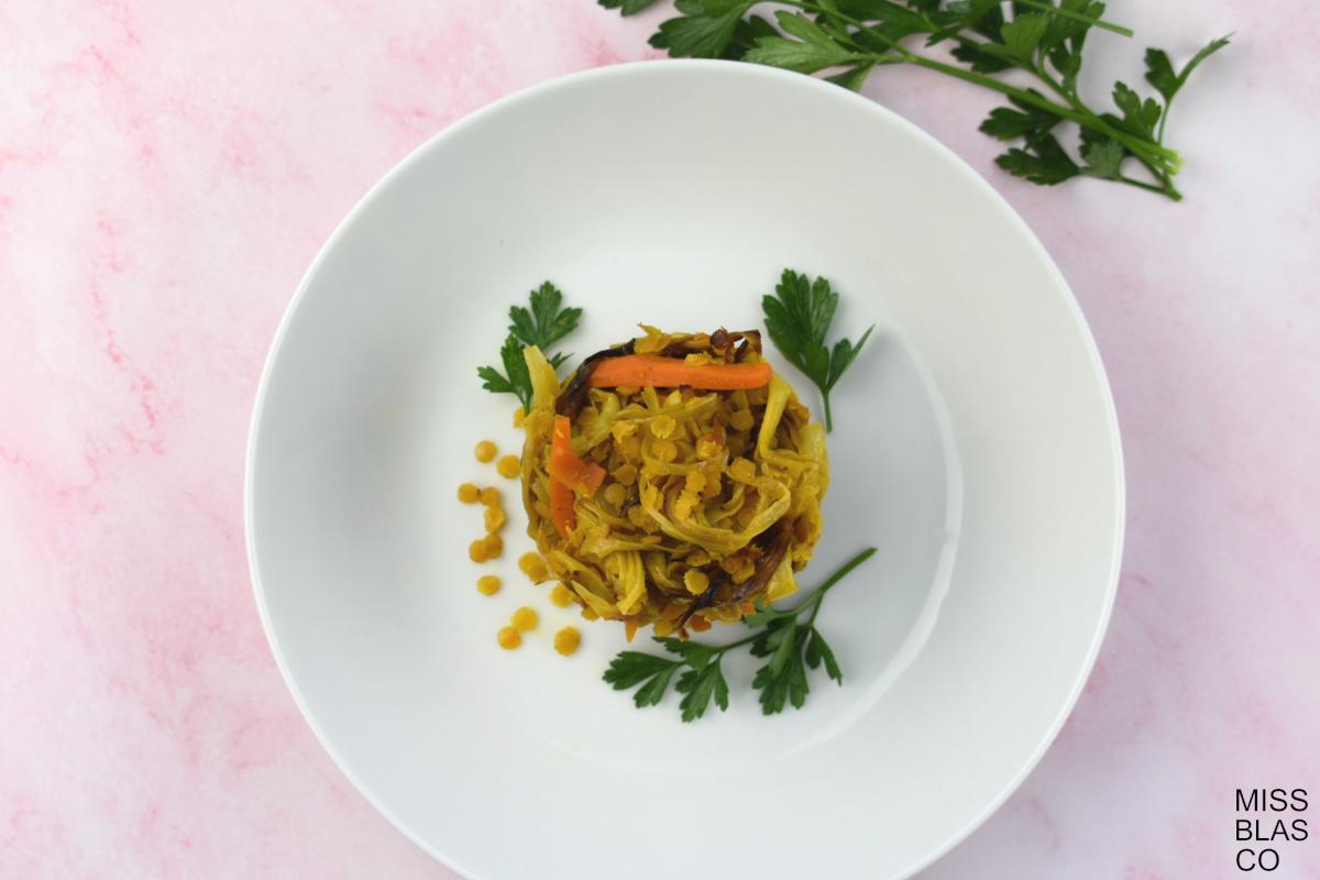 salteado de lentejas rojas con curry